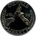 1 доллар 1988 Олимпиада в Сеуле, серебро proof
