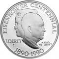 1 доллар 1990 США 100 лет Эйзенхауэру,  proof, серебро