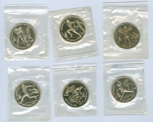 Set of Rubles Olympic games in Barselona 1992 USSR, 6 coins, proof