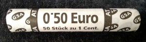 Roll 1 cent AT (Austria) marking, 50 coins from circulation