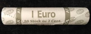 Roll 2 cents AT (Austria) marking, 50 coins from circulation
