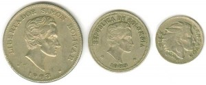 Set of coins of Colombia 1956-66, 3 coins