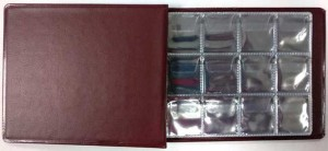 Album 130x100 mm at 96 coins, cell 25x27 mm, AMKM-96 (burgundy)