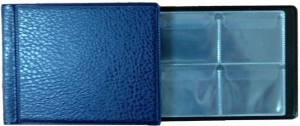 Album 130x100 mm at 32 coins, cell 50x43 mm, AMKM-32 (blue)