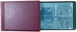 Album 130x100 mm at 32 coins, cell 50x43 mm,  AMKM-32 (burgundy)