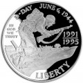 1 доллар 1993 D-Day Десант в Нормандии, серебро proof
