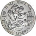 1 доллар 1993 D-Day Десант в Нормандии, серебро UNC