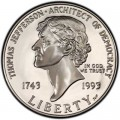 1 dollar 1993 USA Thomas Jefferson 250. Jahrestag Silber proof