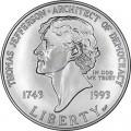 1 доллар 1993 Томас Джефферсон, серебро UNC