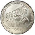 1 доллар 1994 Женщины на военной службе, серебро UNC