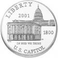 1 доллар 2001 Капитолий, серебро UNC