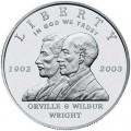 1 доллар 2003 Братья Райт Первый полёт, серебро UNC