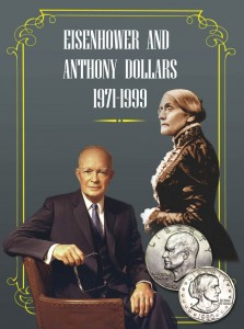 Folder (album) for Eisenhower and Suzan B.Anthony dollars 1971-1999
