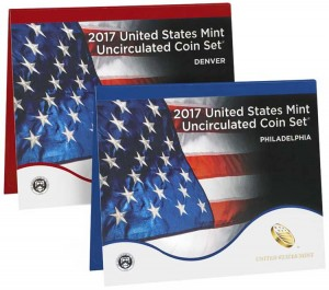 A set of coins 2017 USA, nickel, mint P, mint D UNC