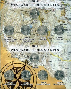 Set 5 cents Westward Journey nickels 2004-2006 in album