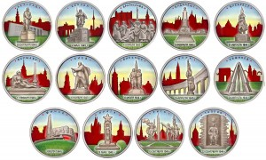 Set of colored 5 rubles 2016 the State capital, liberated by Soviet troops 14 coins in album
