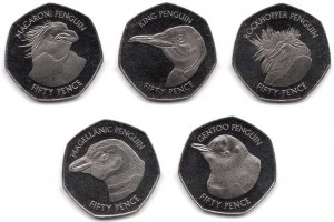 Set of 50 pence 2018 Falkland Islands, Penguins, 5 coins