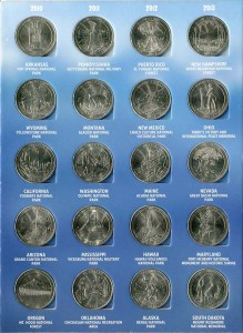 Set of 25 cents America the Beautiful Quarters (56 coins), in album