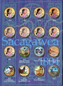 Set of colored USA Sacagawea 1 dollar 2000-2020, 21 coins in album